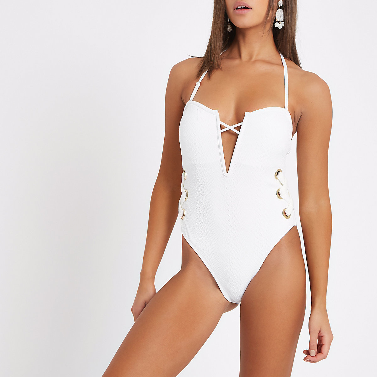 White texture bandeau tie side swimsuit