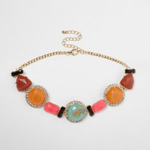 Pink multi color mixed jewel rhinestone choker