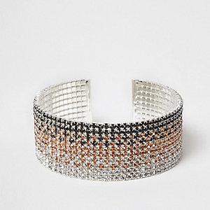 Silver tone ombre diamante cuff bracelet