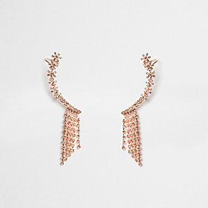 Rose gold tone rhinestone ear cuff