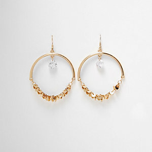 Gold tone half hoop disk dangle earrings