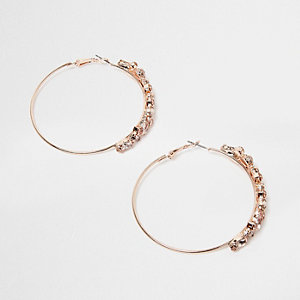 Rose gold tone hoop jewel earrings