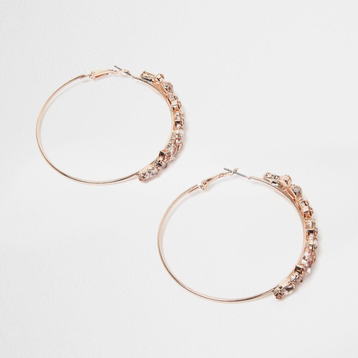 Rose gold tone hoop jewel earrings
