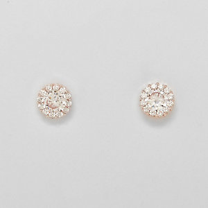 Gold tone rhinestone stud earrings