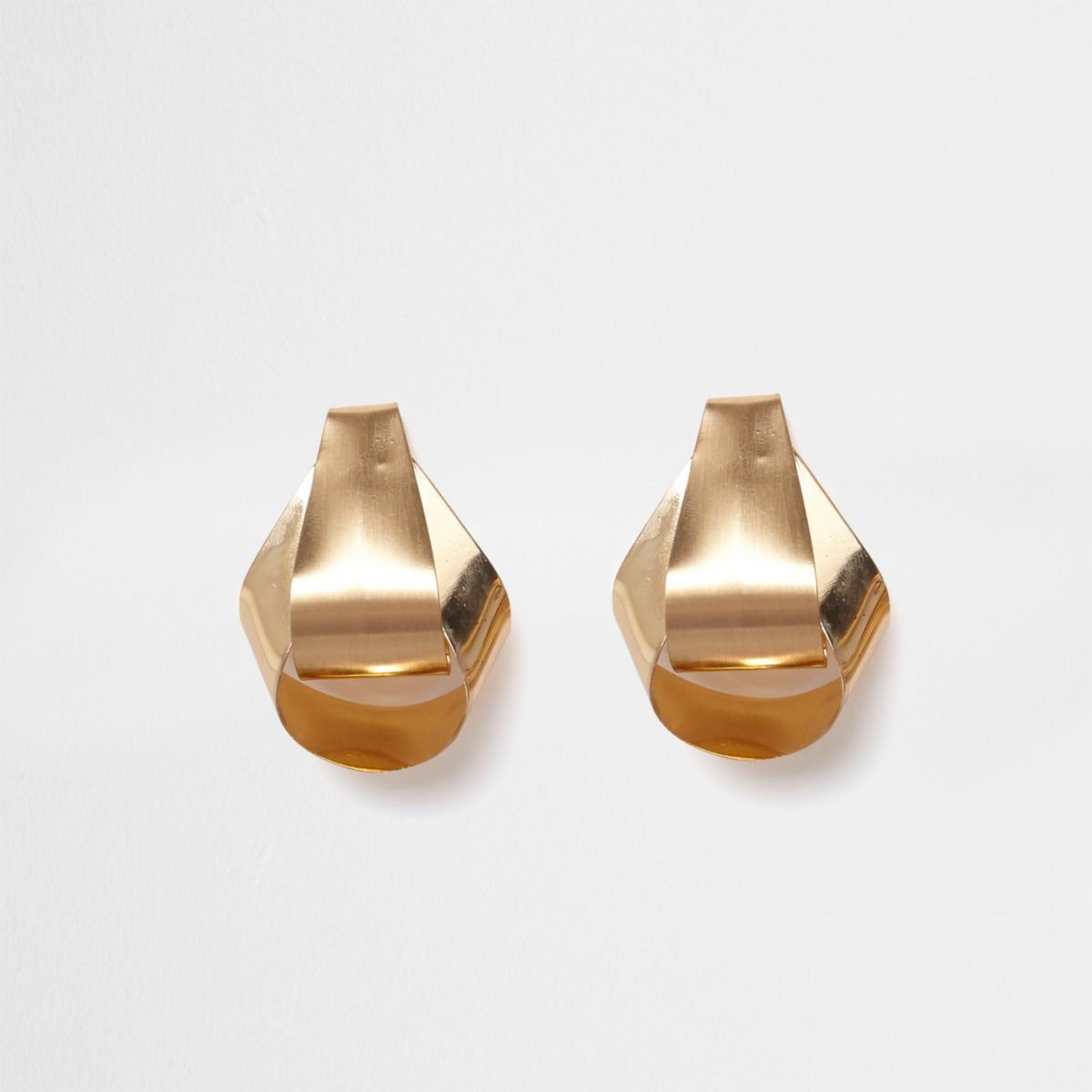 Gold tone folded stud earrings