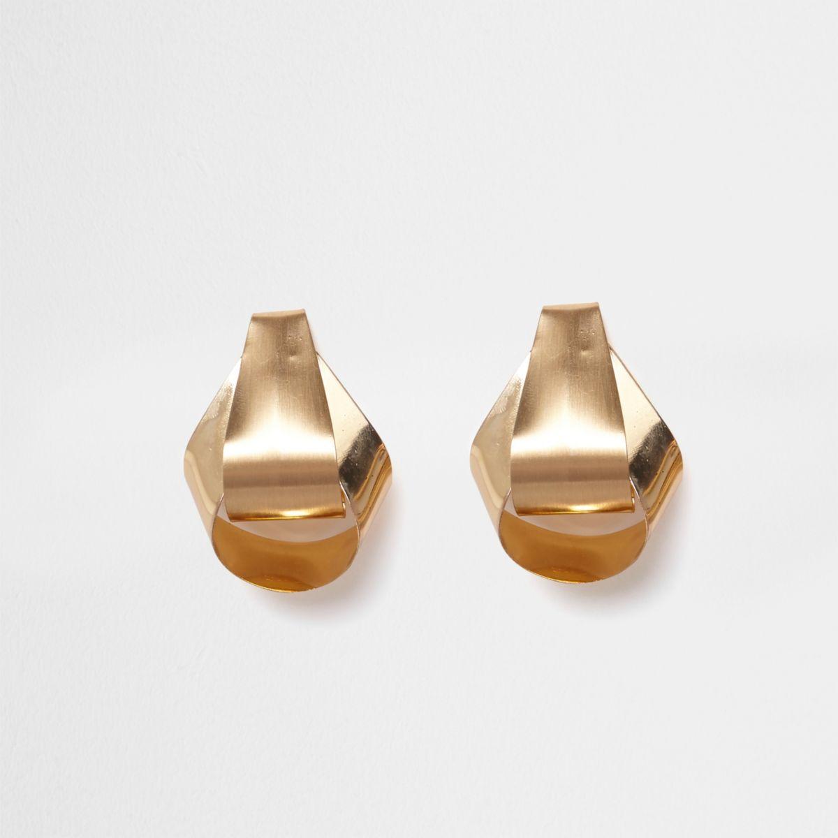Gold tone folded stud earrings