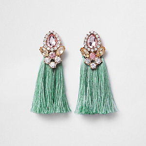 Mint green tassel jewel embellished earrings