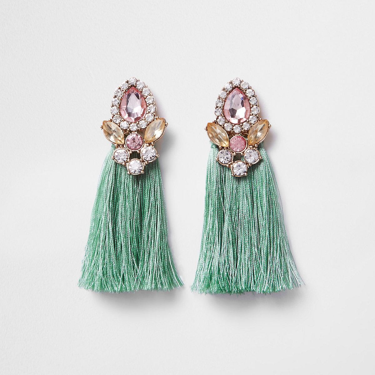 Mint green tassel jewel embellished earrings