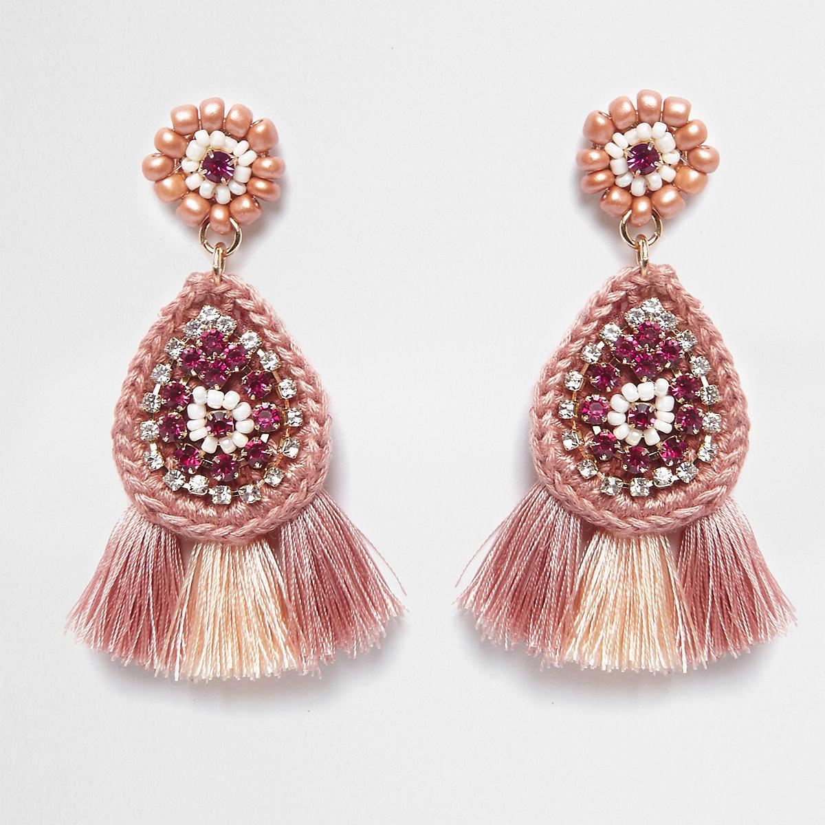 Pink beaded tassel drop earrings