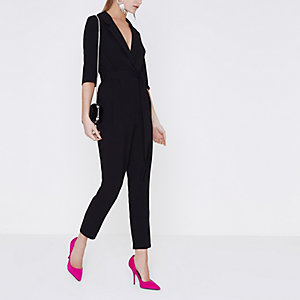 Black tailored three quarter sleeve jumpsuit