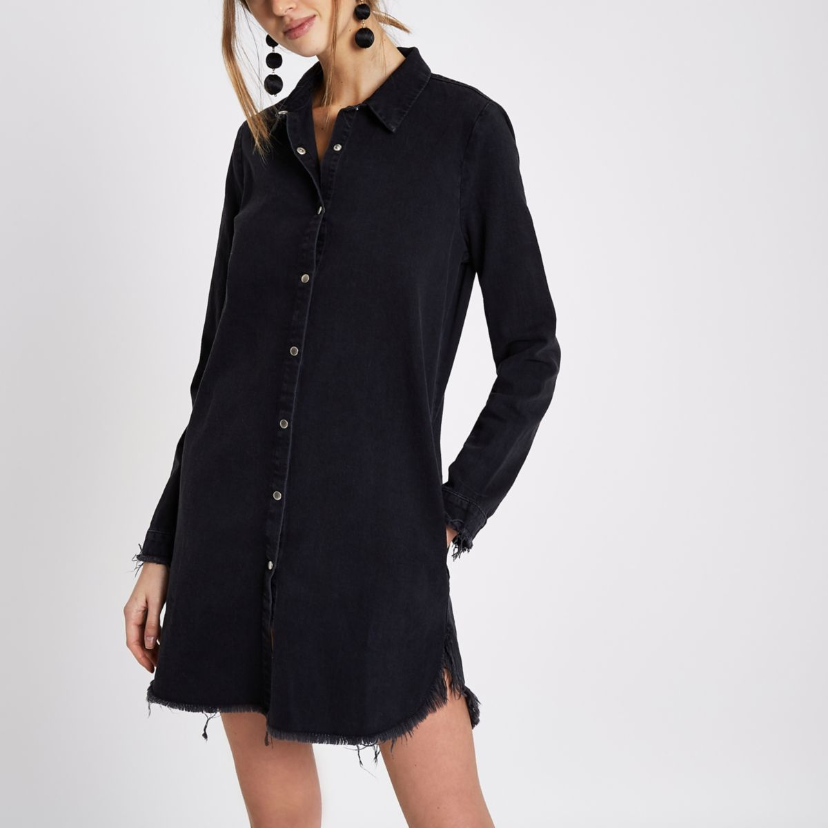 Black frayed oversized denim shirt