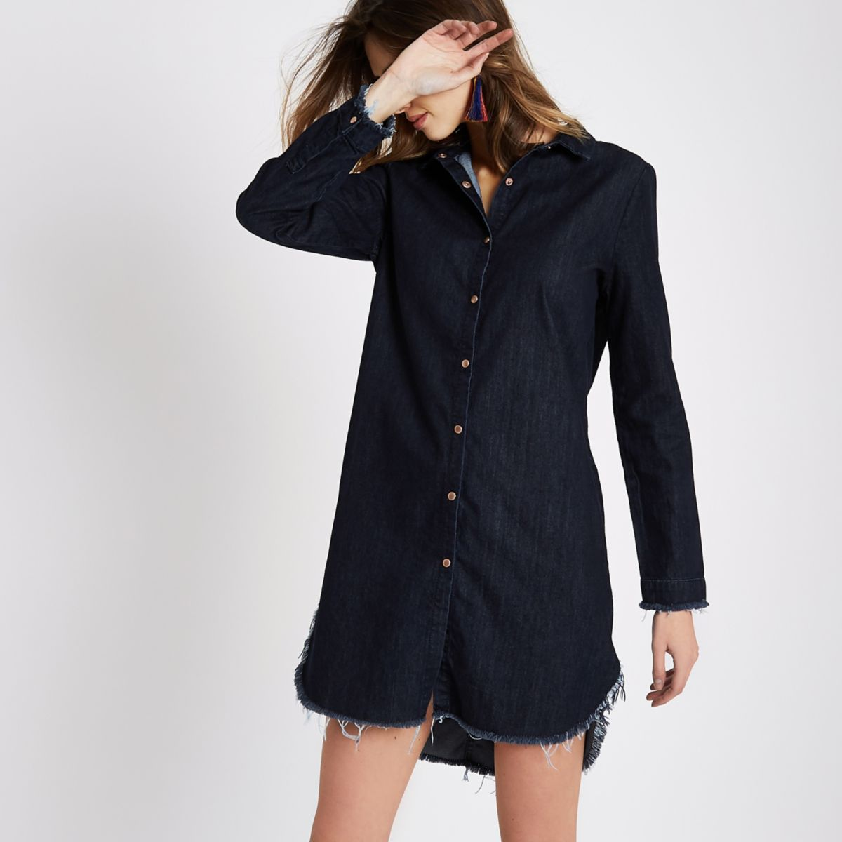 Dark Blue Frayed Trim Denim Shirt Dress Dresses Sale