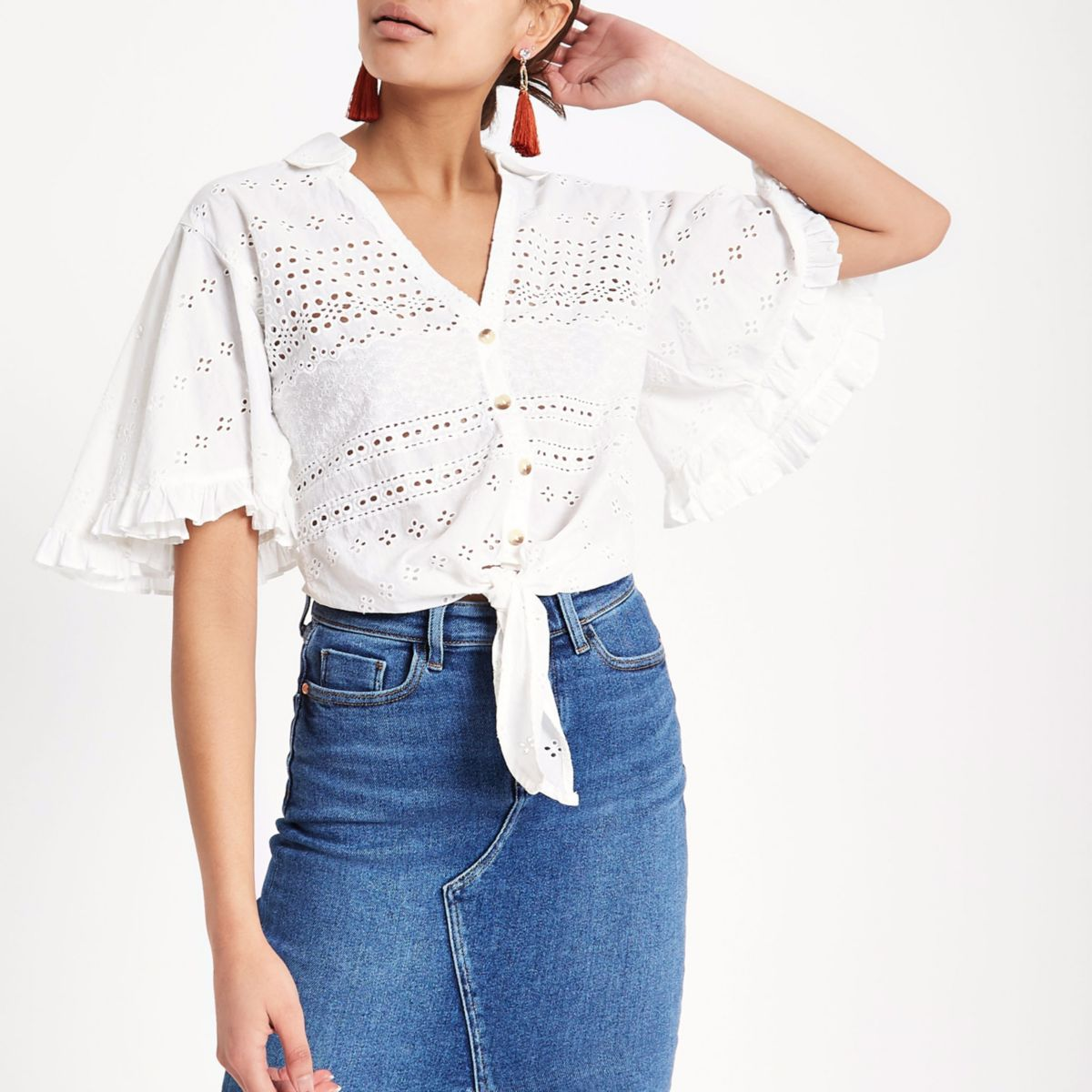 White broderie tie front cropped shirt