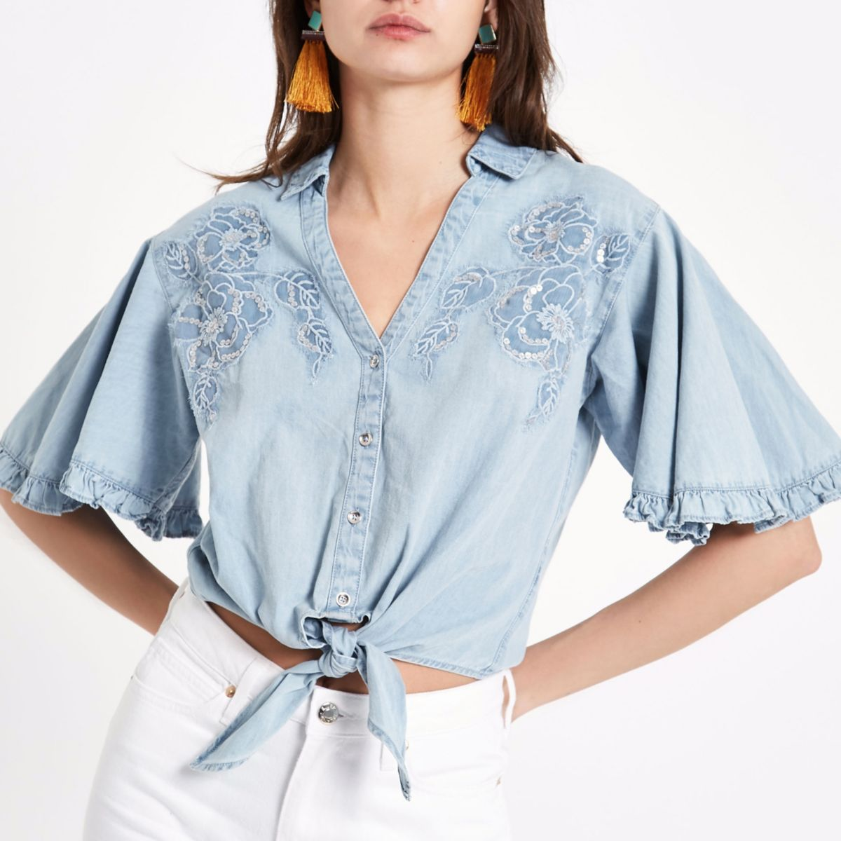 Blue denim floral embroidered tie front shirt