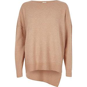 Light pink asymmetric hem jumper