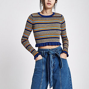 Blue and gold glitter stripe frill crop top