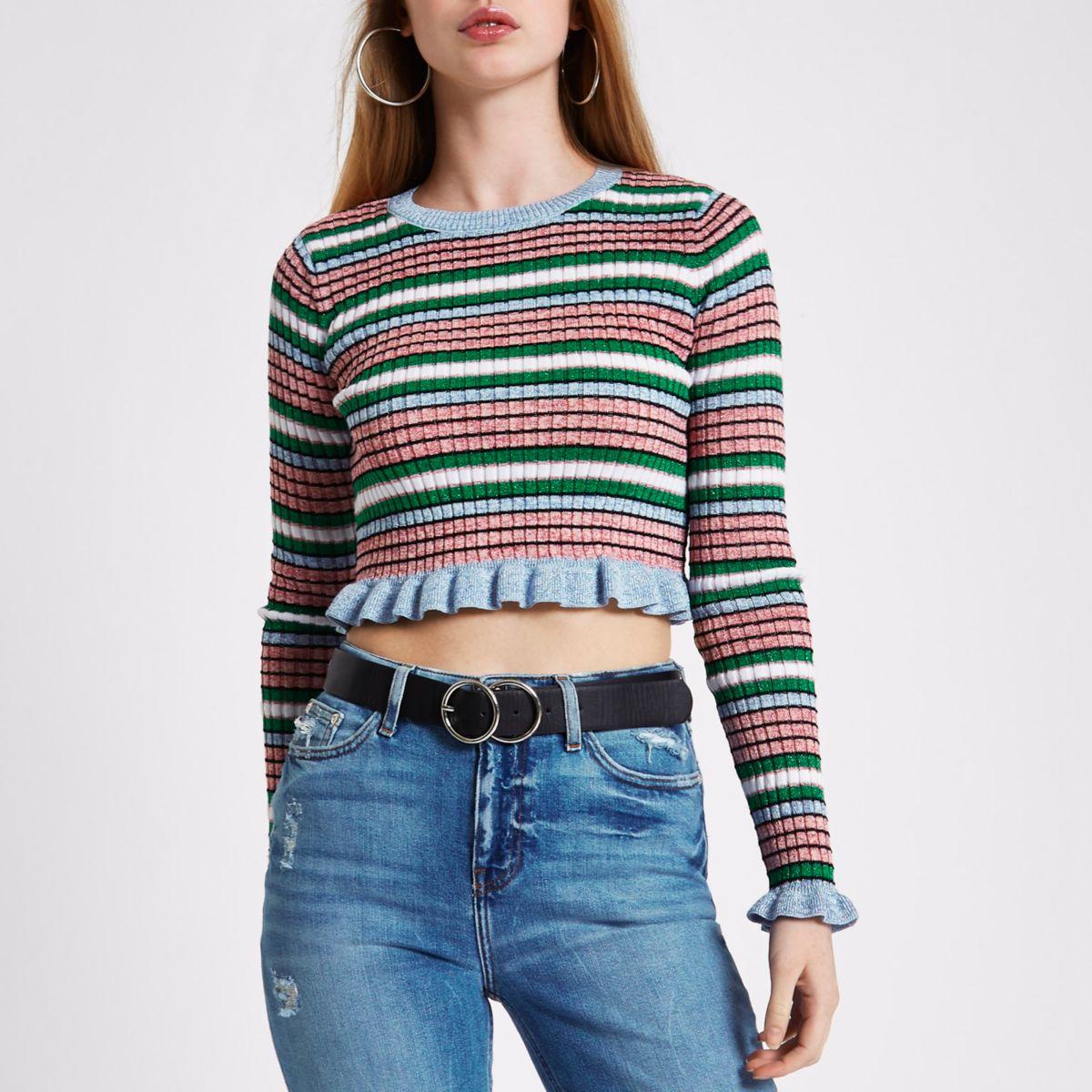 Pink metallic stripe frill hem knit crop top