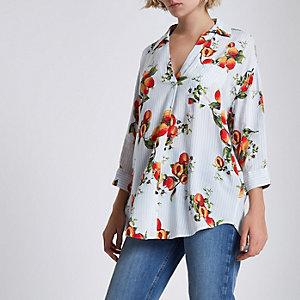 Weiße, gestreifte Bluse mit überkreuzten Trägern und Print