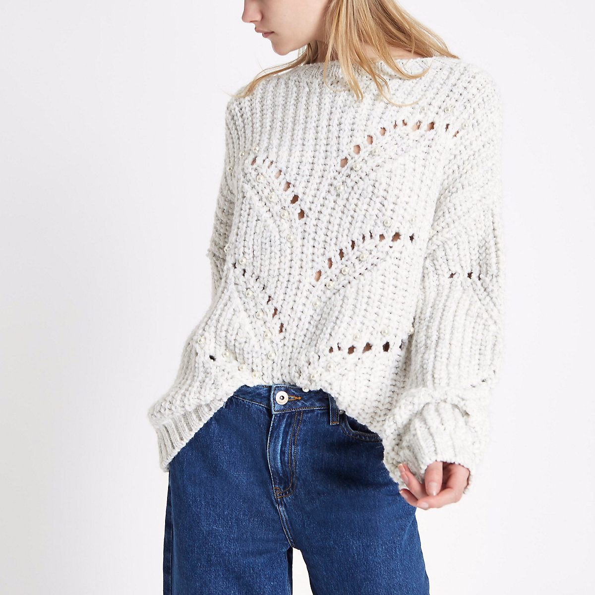 Cream pearl embellished chunky knit jumper
