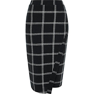 Blue check wrap front pencil skirt