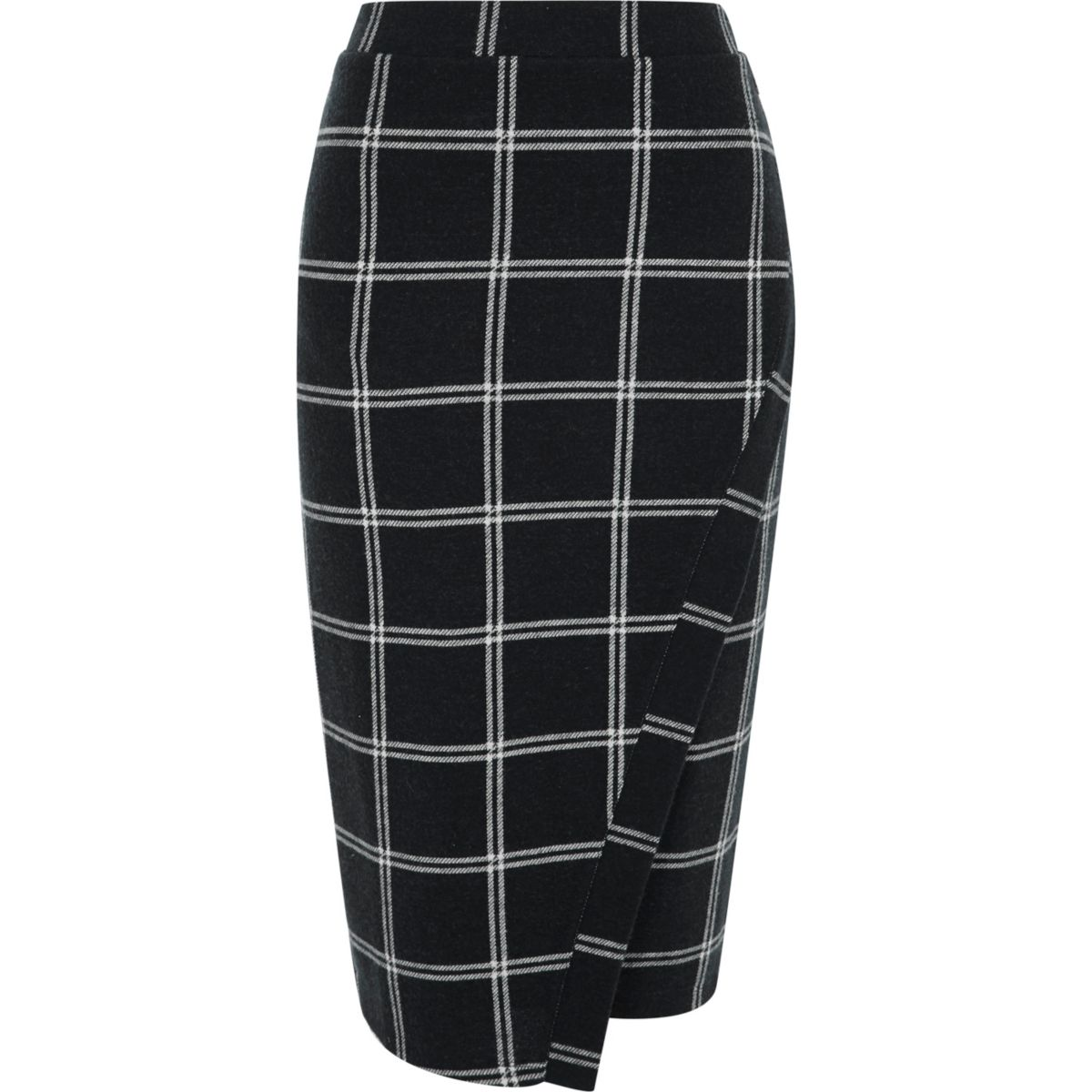 Navy check wrap front pencil skirt