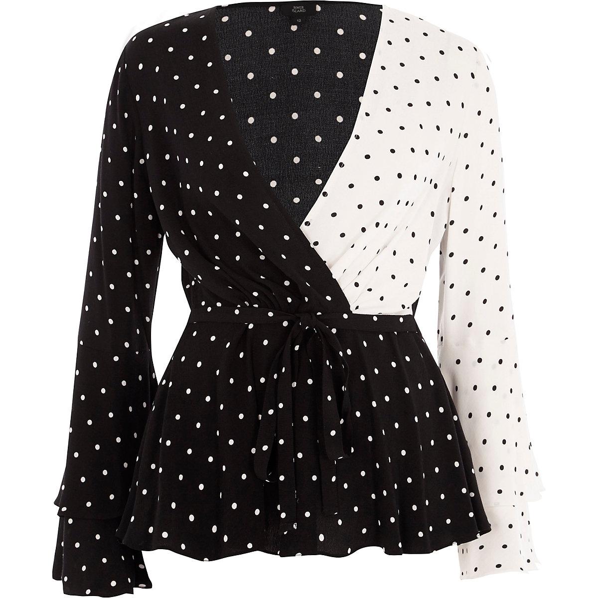 23e9a6b05d5 Black block polka dot wrap tie waist blouse - Blouses - Tops - women