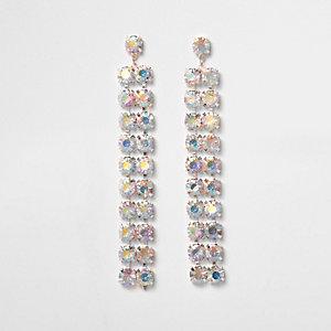 Rose gold tone diamante drop earrings