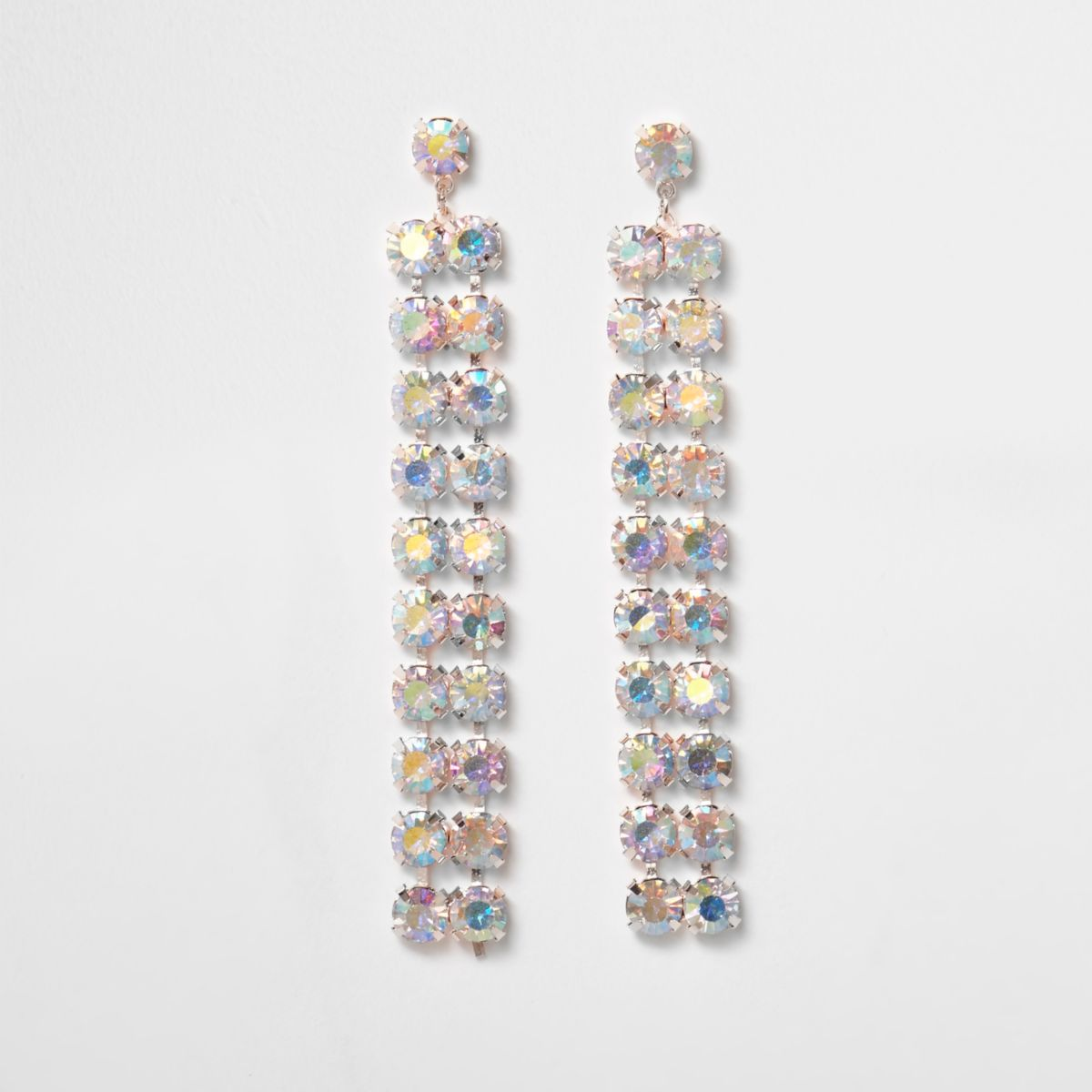Rose gold tone rhinestone drop earrings