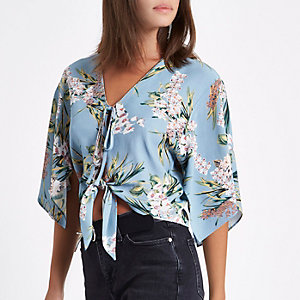Blue floral cape tie front crop top