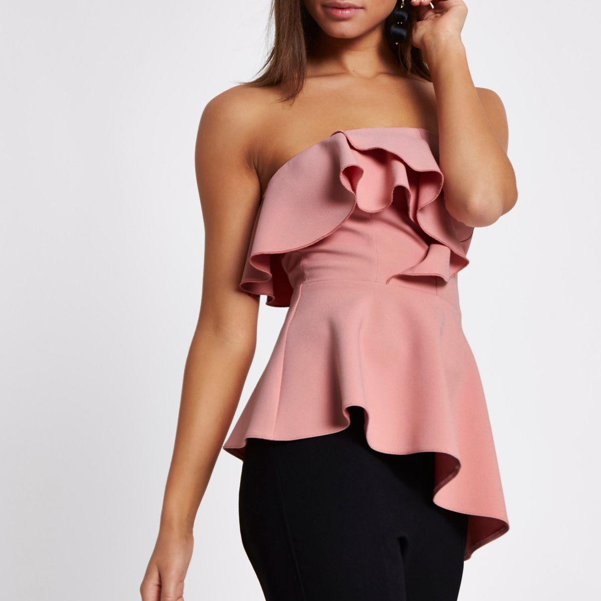 Pink frill bandeau asymmetric hem top