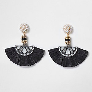 Black faux pearl raffia fan drop earrings