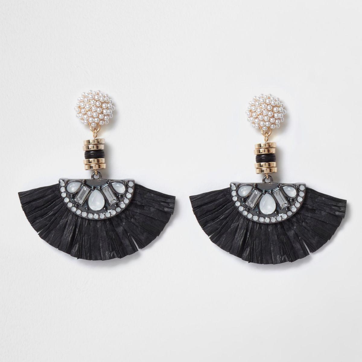 Black faux pearl raffia fan drop earrings