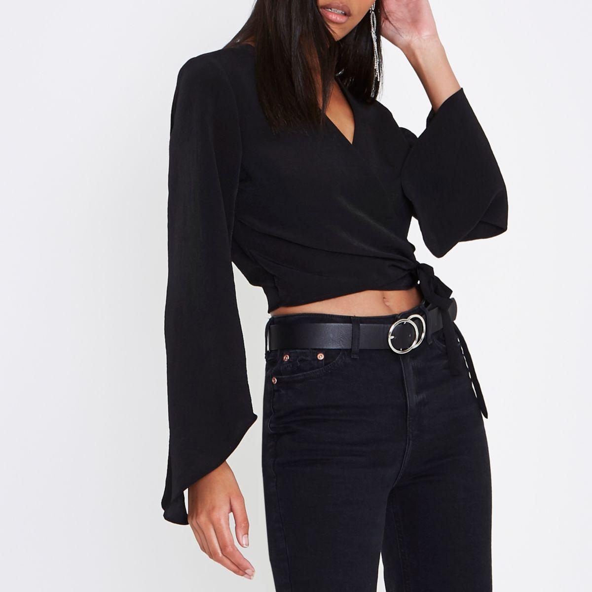 Black wrap long flare sleeve crop top