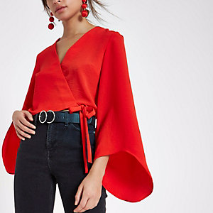 Red wrap long flare sleeve crop top