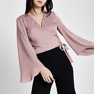 Pink wrap long flare sleeve crop top