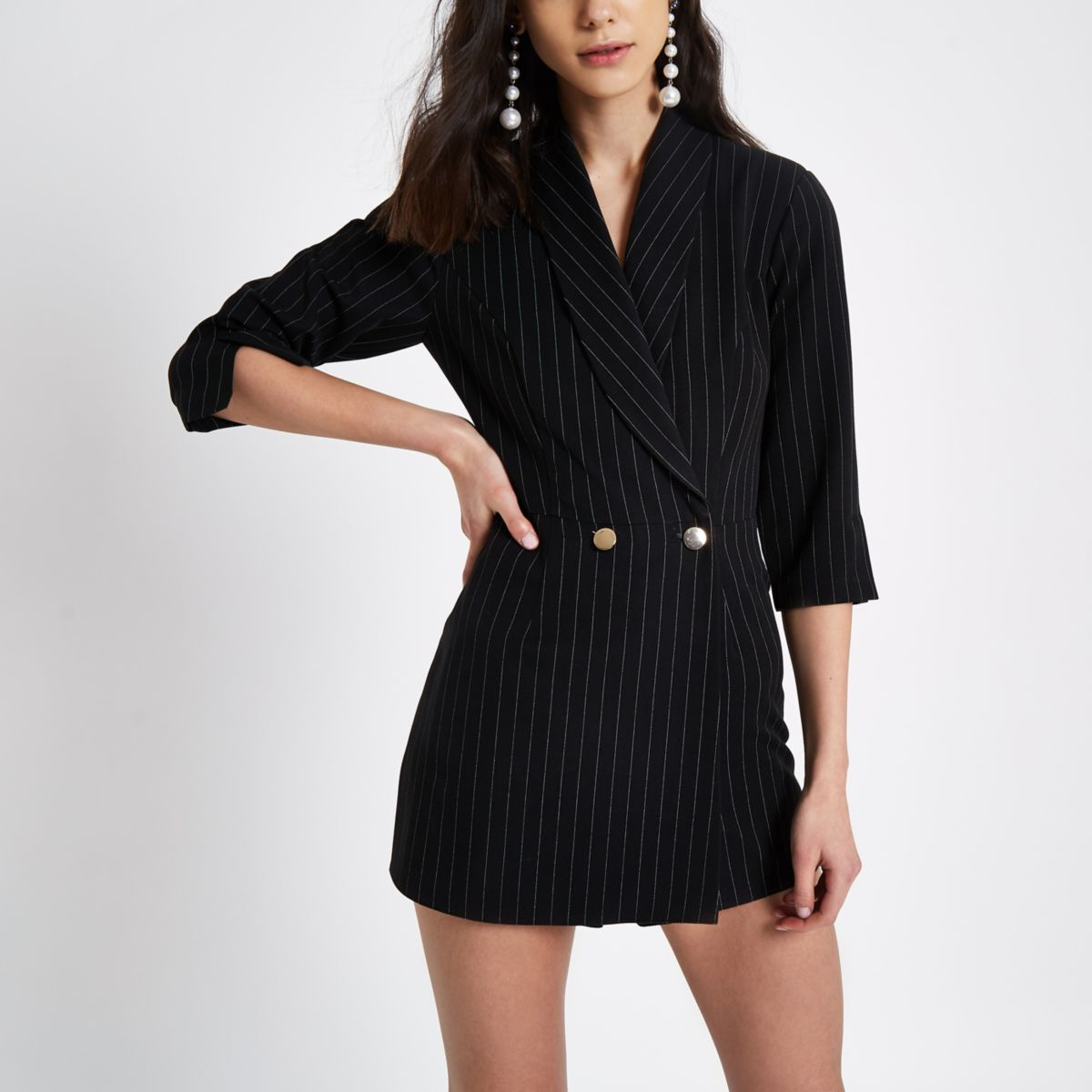 Black pinstripe double-breasted tux romper
