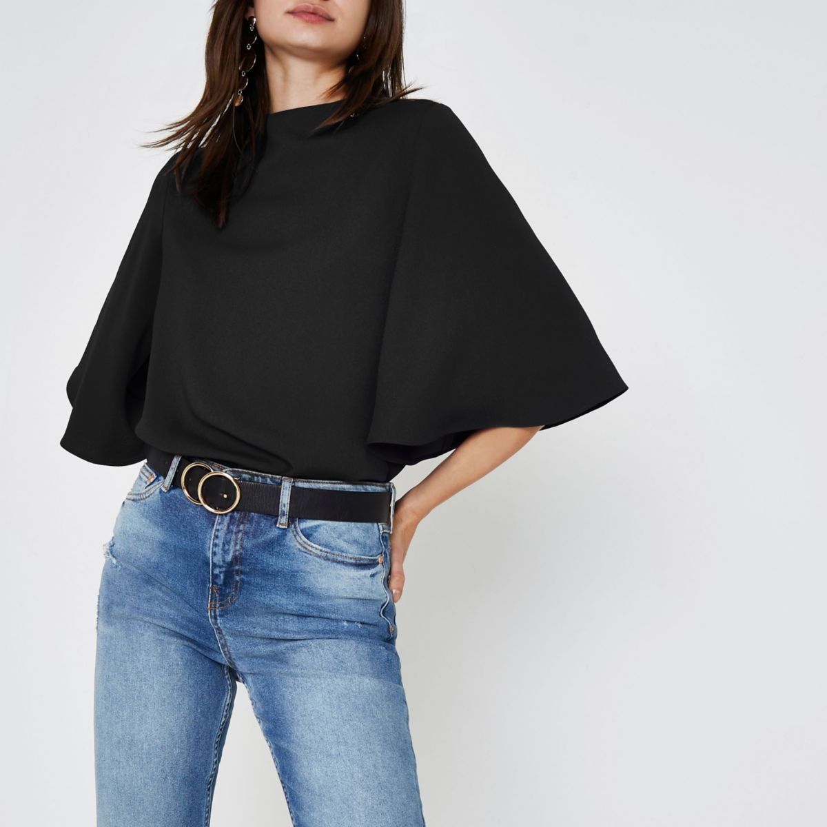 Black high neck cape sleeve top