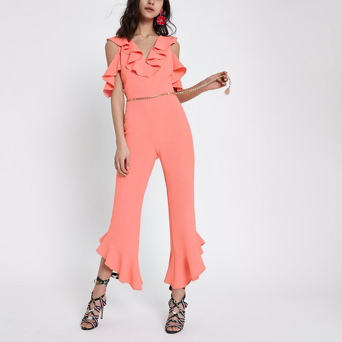 Pink frill front cold shoulder jumpsuit