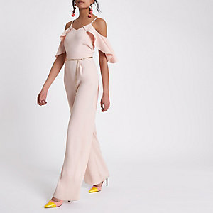 Light pink cold shoulder belted jumpsuit