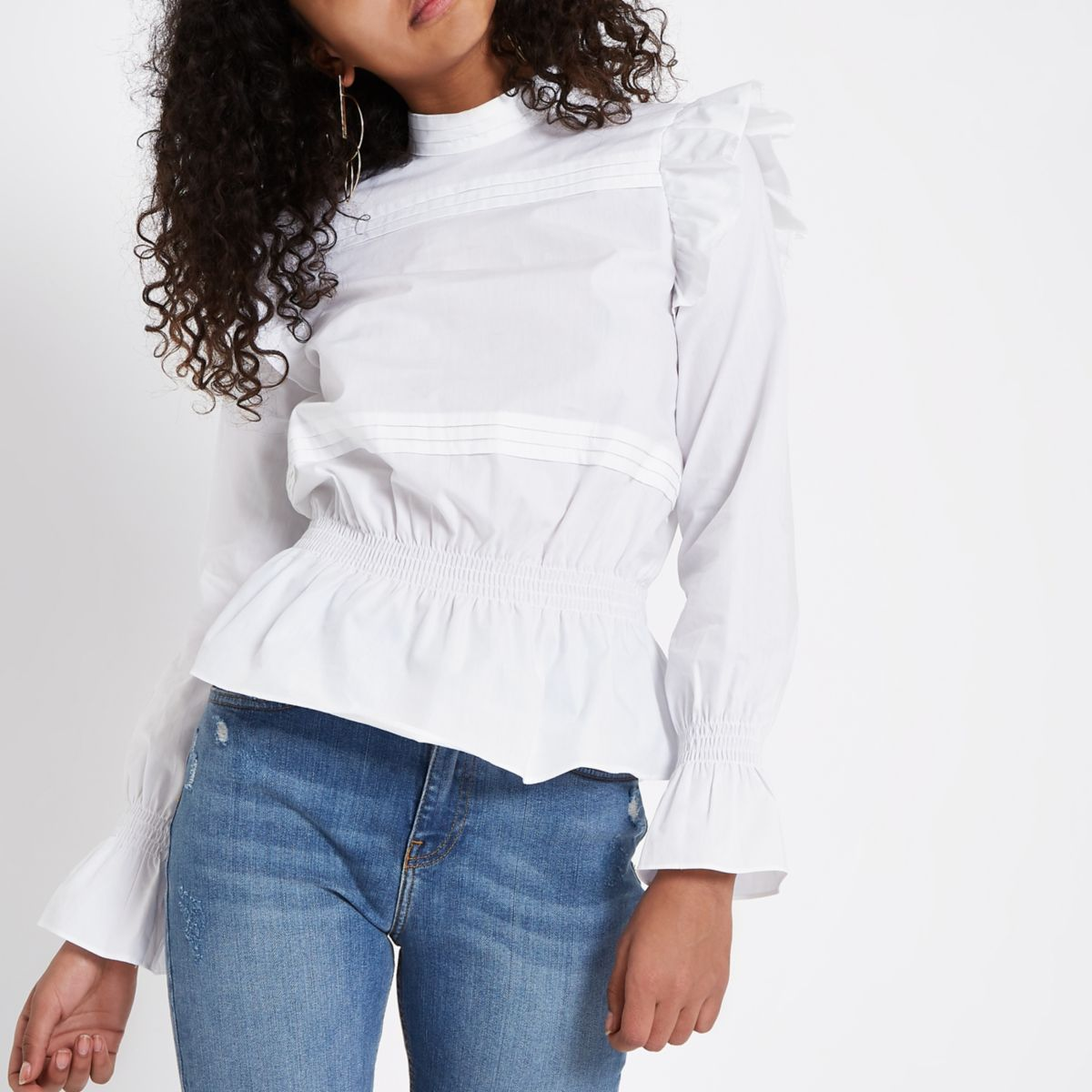 White poplin frill pleated top