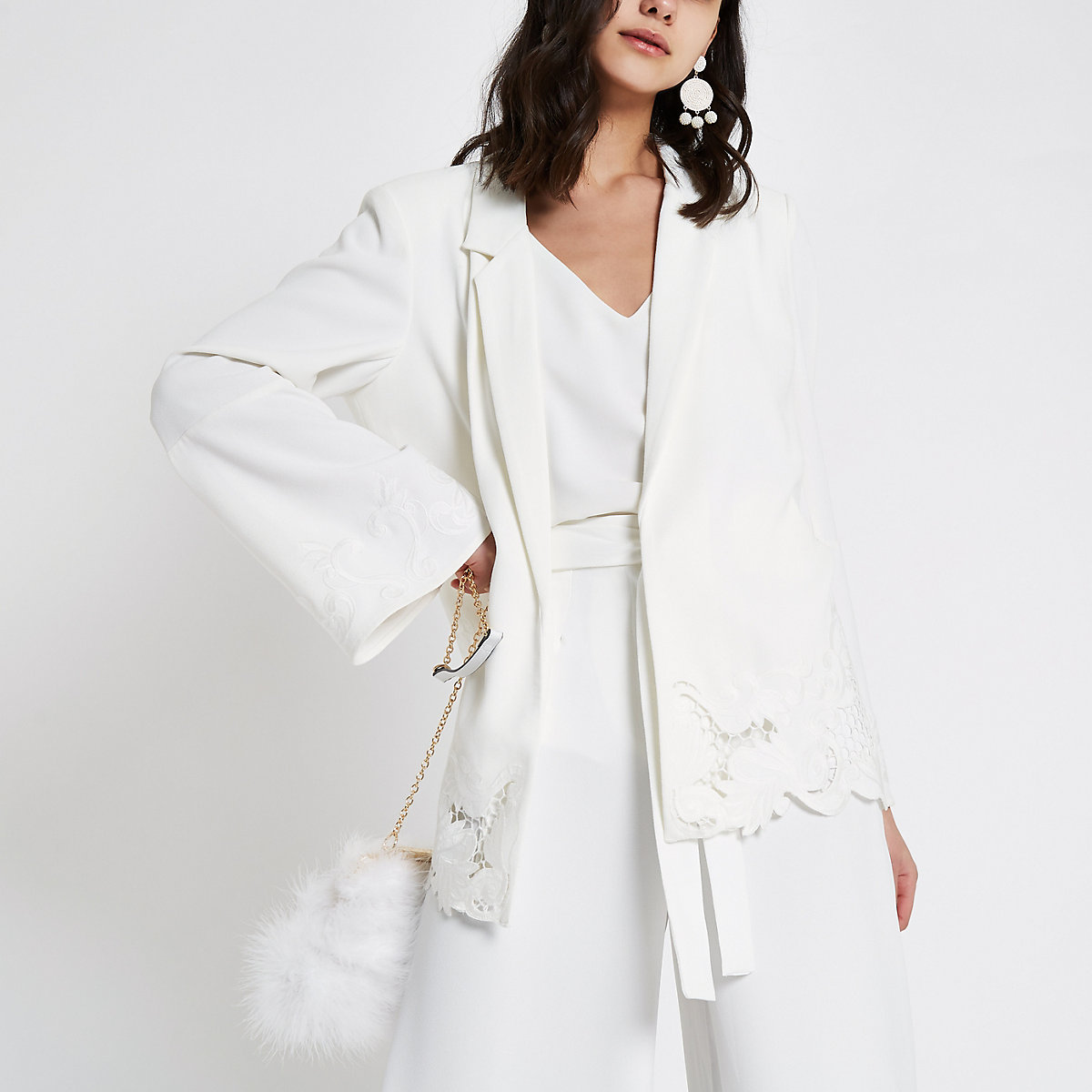 White lace embroidered hem blazer