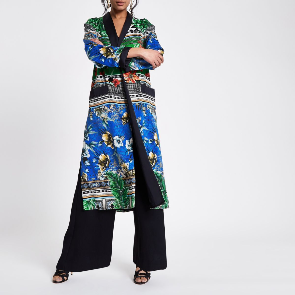 Green scarf print duster jacket