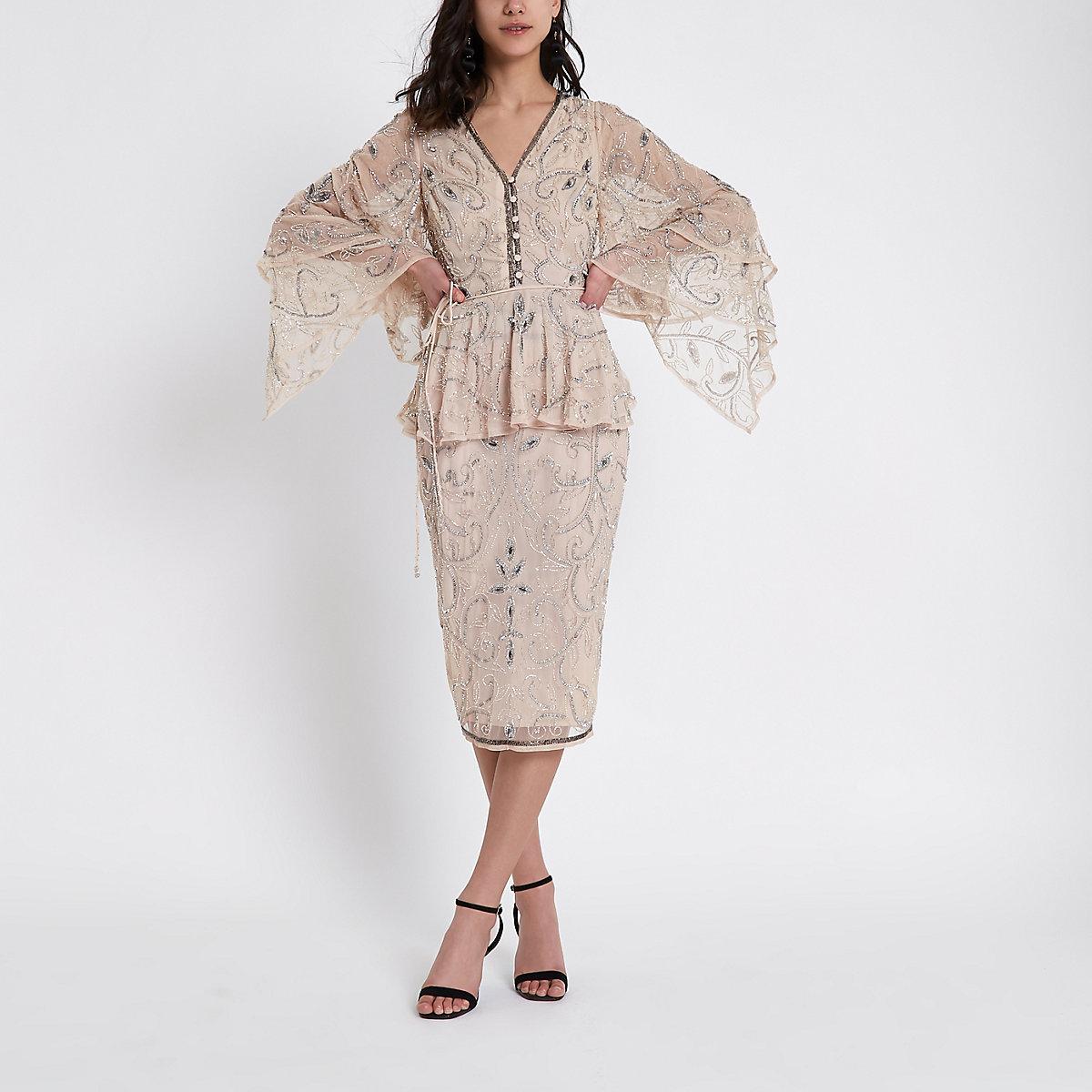 Beige sequin embellished pencil skirt