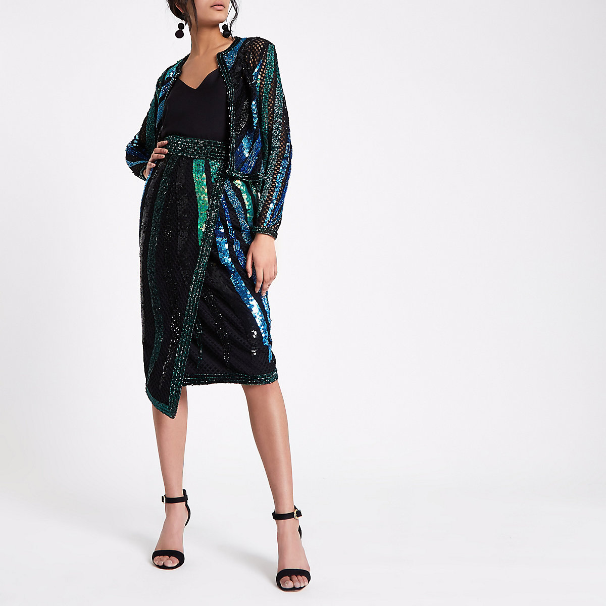 Green sequin embellished wrap midi skirt