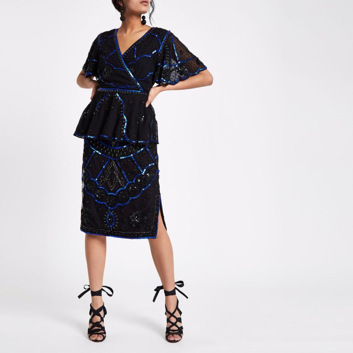 Black embellished pencil skirt