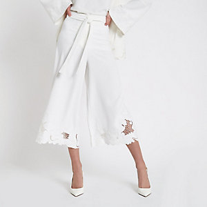 White embroidered hem culottes