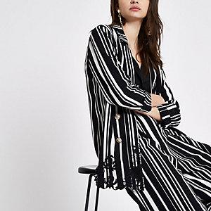 Black stripe embroidered hem longline blazer