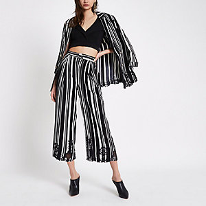 Black stripe embroidered hem culottes