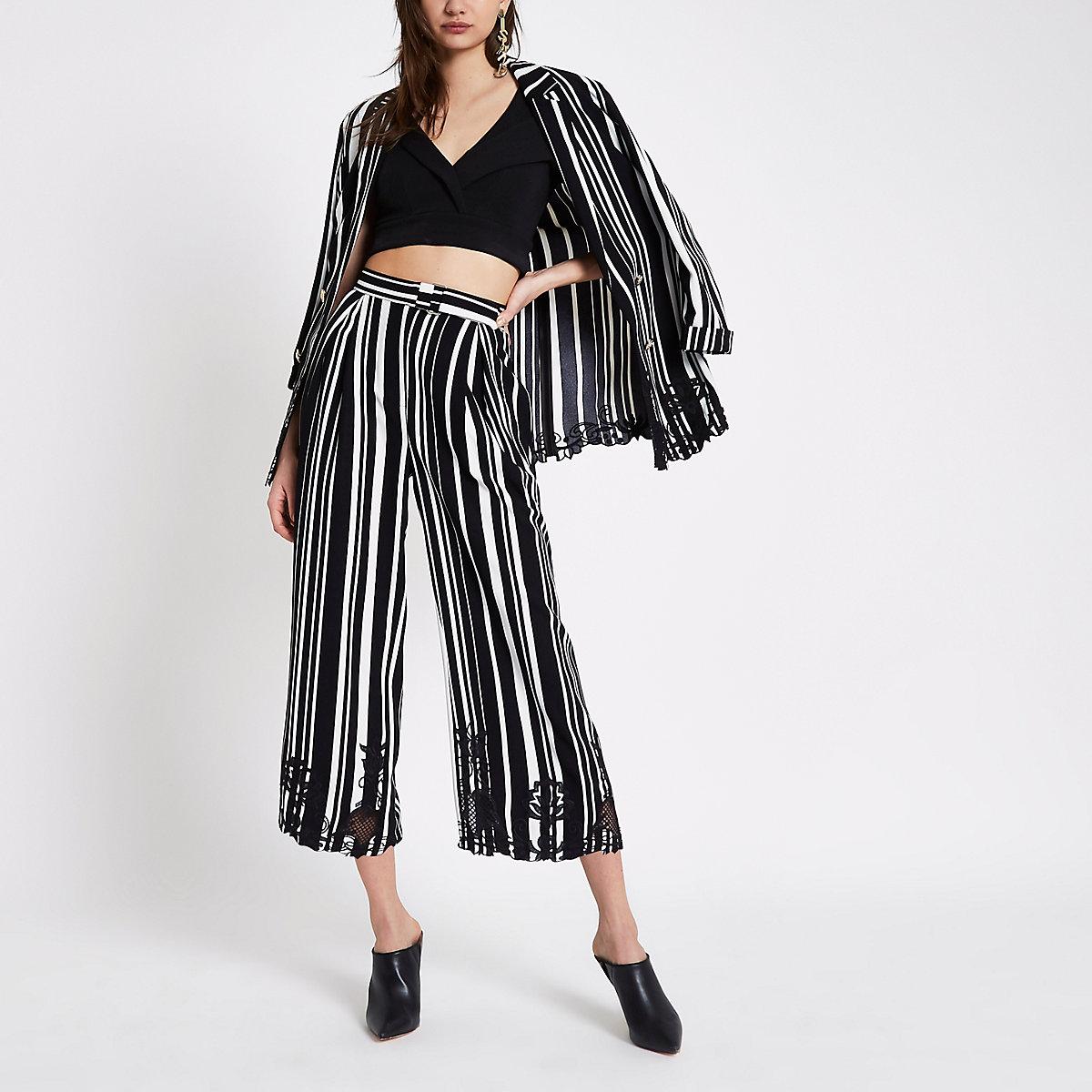 Black stripe embroidered hem culottes