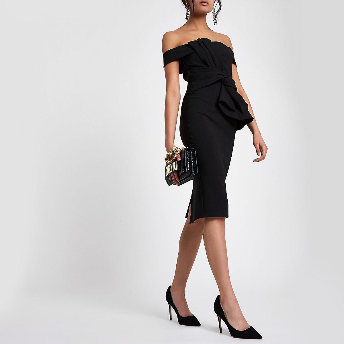 Robe Bardot ajustée noire nouée sur le devant